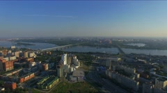 Russia, Novosibirsk, June 2015: Aerial view of the city on the two riversides Stock Footage