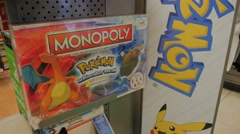 Pokemon Monopoly Game Display Store Merchandise Stock Footage