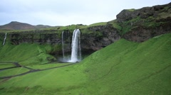 View of beautiful landscape and waterfall Stock Footage
