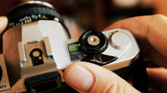 Old camera in hands Stock Footage