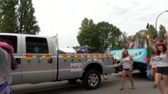 Lesbians various generations gay parade Stock Footage