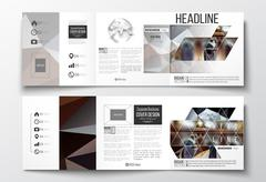 Set of tri-fold brochures, square design templates. Colorful polygonal - stock illustration