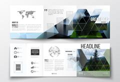 Vector set of tri-fold brochures, square design templates. Colorful polygonal - stock illustration