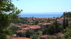 Red  tile roofs of Nikiti village. Chalcidice, Greece Stock Footage