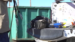 Slow motion construction worker Stock Footage