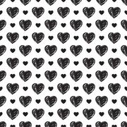 Monochrome hearts seamless pattern. Marriage design. Love concept. Stock Illustration