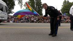 Police officer rainbow flag Stock Footage