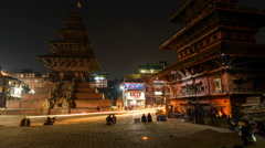 Bhaktapur dusk to night time-lapse cinemagraph, Nepal Stock Footage