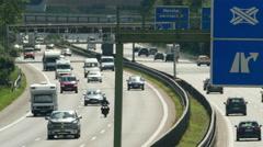 4K German Autobahn Motorway Freeway Highway Summer heat wave Mobile-home Trailer Stock Footage