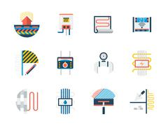 Set of floor heating flat color vector icons Stock Illustration