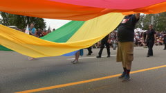 Gay paraders lgbt flag Stock Footage