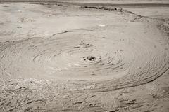 Mud Volcanoes - Texture and eruption -Romania, Buzau, Berca Stock Photos