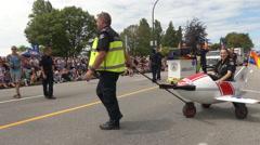 Toy ambulance car female inside Stock Footage