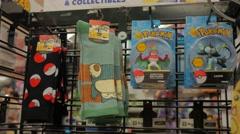 Pokemon Socks Pikachu Memorabilia Display Store Merchandise Stock Footage