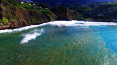 Portugal Madeira 4k aerial video background. Sea ocean coast harbor water surf Stock Footage
