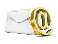 Envelopes with golden e-mail sign. 3D Piirros