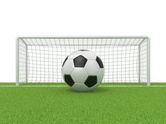 Football - soccer ball in front of goal gate on grass. 3D Stock Illustration