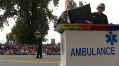 Ambulance counter outdoor gay parade - stock footage