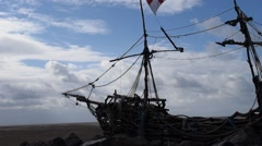 Black pearl on hoylake beach wirral Stock Footage