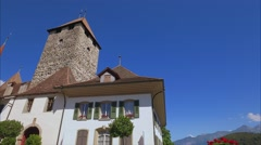 Spiez Castle, Lake Thun, Bernese Oberland, Switzerland, Europe Stock Footage