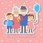 Grandmother and grandfather  grandchildren greeting card for grandparents day Stock Illustration
