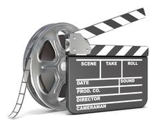 Film reel and movie clapper board. Video icon. 3D Stock Illustration