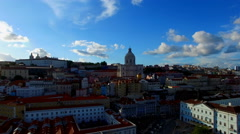 Portugal Lisbon old city Pantheon 4k travel video. Aerial panoramic waterfront Stock Footage