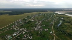Russia, Novosibirsk, June 2015: Aerial video of countryside and river Stock Footage