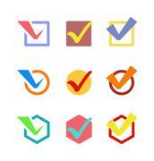 Check vote icon button Stock Illustration