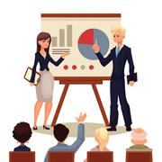 Businessman and businesswoman giving presentation with a board Stock Illustration