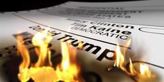 Donald Trump's name in flames on presidential ballot Stock Photos