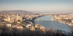 Cityscape of Budapest  with Danube River Stock Photos