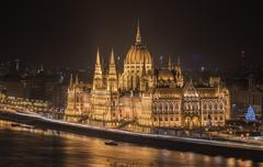 Hungarian Parliament Building at Night Stock Photos