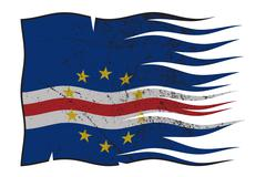 Cape Verde Flag Wavy And Grunged Stock Illustration