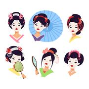 Vector japanese geisha girl Piirros
