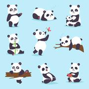 Panda bear vector set Stock Illustration