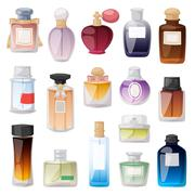 Perfume bottle vector set - stock illustration