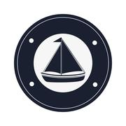 sail boat emblem icon - stock illustration