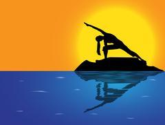 Yoga Extended Angle Pose Sea Background Stock Illustration