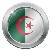Algeria Flag Silver Icon Stock Illustration