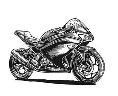 Motorcycle. Vector engraved illustration Stock Illustration