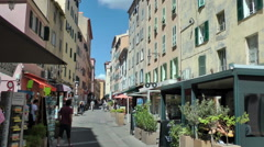 AJACCIO - Tourists and local on city main street Stock Footage