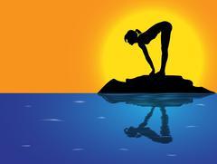 Yoga Forward Fold With Lift Sea Background Stock Illustration