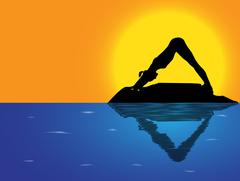 Yoga Downward Dog Sea Background Stock Illustration