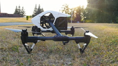 Drone takes off from the grass Stock Footage