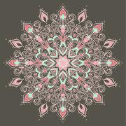 Ethnic Mandala. Indian floral ornament Stock Illustration
