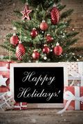 Nostalgic Christmas Tree With Happy Holidays Kuvituskuvat