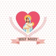 Holy mary baby jesus icon. Vector graphic Stock Illustration