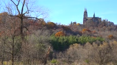 Nice establishing pan shot of Holy Hill, a remote monastery in rural Wisconsin. Stock Footage