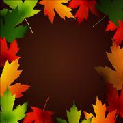 Clip-art frame from fallen leaves isolated Stock Illustration